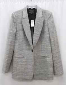 NEW gray BANANA REPUBLIC one button boucle wool blazer suit jacket 14 TALL