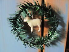 "Antique 5 1/4"" German Style Putz Sheep, Feather Tree Sprig  Wreath Ornament ~NEW"