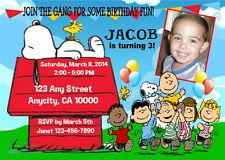 SNOOPY PEANUTS GANG CUSTOM BIRTHDAY PARTY INVITATION & FREE THANK U CARD U PRINT