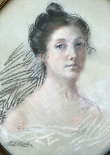 1895 PASTEL  PORTRAIT OF A BEAUTIFUL LADY IN OVAL FRAME & SIGNED/DATED