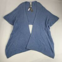 Chico's New Women's Size Small/Medium Shrug Sweater Blue Stretch Open Front $79