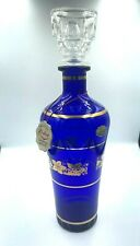 "Vintage Cobalt Blue  Gold Embellished Decanter Made In ITALY 13.5""  Gorgeous"