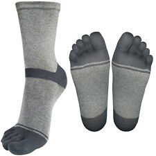 """8 Pairs Lot Mens Gray Dress Toe Socks CH8R2 """"Skin contact surface is 100% cotton"""