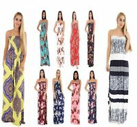 Stylish Ladies Strapless Maxi Dress Sheering Boob tube Bandau Long Lot Size 8-22