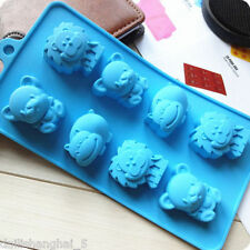 New Silicone 8 Lion Hippo Ice Cube Chocolate Cake Cookie Cupcake Soap Mold DIY