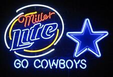 "New Miller Lite Dallas Cowboys Go Cowboys Beer Neon Light Sign 24""x20"""