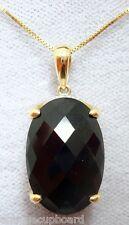 14k Gold Checkerboard Genuine Natural Smoky Quartz Pendant w/ Diamonds (#J2955)