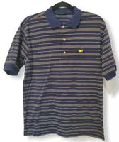 Masters Collection Men's Size Small Navy Blue Striped Embroidered Logo Polo euc