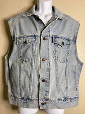 Vtg Abercrombie & Fitch Men Size L Trucker Vest Light Wash 90s