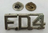 """VINTAGE  Fire Department Uniform Pin """"F.D.4"""" Silver Tone Colored Pin"""