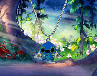 Disney Lilo & Stitch sterling silver / faux leather necklace with Stitch charm