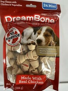 DreamBone Mini Bones Dog Chews with Real Chicken Rawhide-Free Chews for Dog 24ct