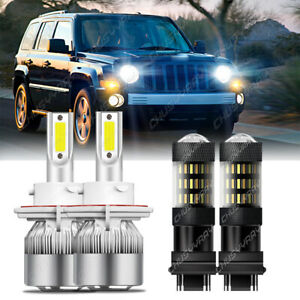 For Jeep Patriot 2011-2017 H13 LED Headlight Bulbs+ 3157 Switchback Signal Light