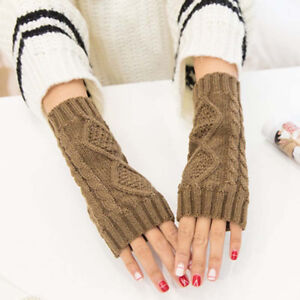 Men Women Unisex Knitted Fingerless Gloves Soft Warm Long Mitten warm Winter #B9