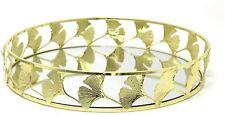 Gold Round Mirror Glass Decorative Leaf Vintage Metal Plate Drinks Display Tray