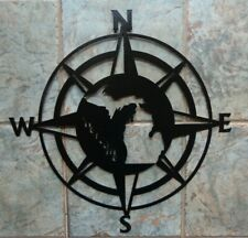 "Nautical Compass Michigan Welcome Plasma Cut Metal Wall Art 22"" Dia Black Finish"