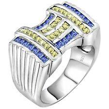 Men's Real Sterling Silver .925 Blue & Yellow CZ Stones Ribbed Ring w/Gift Box