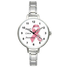 Breast Cancer Awareness Pink Ribbon Italian Charm Band Unisex Wrist Watch BM223