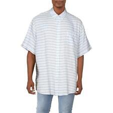 Top Vintage Mens lino con cuello resistente a la intemperie Botones Camisa BHFO 4024