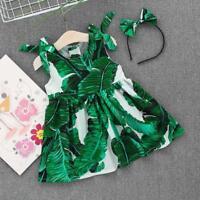 Summer Kids Toddler Baby Girls Leaves Print Dress Straps Headband Beach Dress