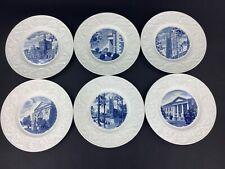 """Wedgwood Duke University 1937 1st Ed. Set of SIX (6) 10 1/2"""" Blue Dinner Plates"""