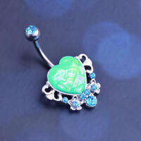 1Pc Punk Acrylic Stainless Steel Heart Body Piercing Belly Bar Button Navel Ring