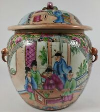 Antique Rose Medallion China Covered Pot / Jar / Tureen W Elephant Heads Handles