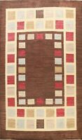 Geometric Brown Gabbeh Oriental Area Rug Wool Hand-knotted Modern Carpet 6x9 ft