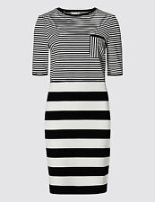 M&S COLLECTION Variegated Striped T-Shirt Shift Dress size 18 long