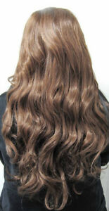 LADIES / GIRLS COSTUME SYNTHETIC THICK LONG WAVY FRINGE HAIR WIG AUBURN BROWN