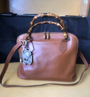 Authentic Gucci Bamboo Leather Medium 2-Way Crossbody Bag-Beautiful Preowned