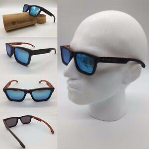 Men's Handcrafted Black Skate Wood Frame Blue Mirror Polarized Sunglasses