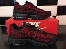J68 Nike Air Max 95 Ultra Jacquard Uomini, S Nero/Rosso 749771-004 Nuovo Con Scatola Uk 6.5 e 40.5