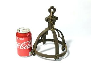 Antique Wrought Iron Dome Crown Orb Shaped Lamp Shade Light Fixture Hanging