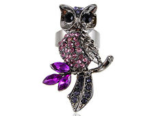 Gun Metal Tone Magenta Pink Light Rose Crystal Rhinestone Owl Adjustable Ring