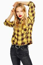 Ex Topshop Washed Body Yellow Black Check Shirt Size 6 - 16 RRP £25