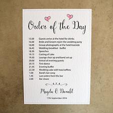 A4 Personalised Order of the Day Wedding Sign - 260gsm Hammer Card