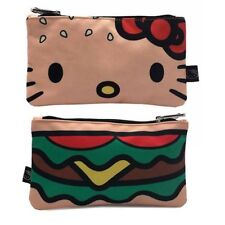 Loungefly Hello Kitty Pouch - Hamburger Print Zip Pouch - Cosmetic/Coin Bag New!