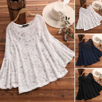 UK New Womens Lace Crochet Long Sleeve Loose Tops Tee Blouse T Shirt Plus Size