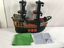 Large Black And Red Pirate Ship Fisher Price Sails Toy Jack and Neverland