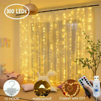 3*3M USB 300LED String Fairy Lights Xmas Garden Curtain Party Wedding 8 Modes
