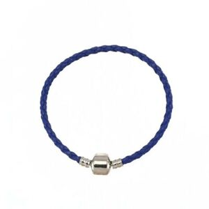 Blue LEATHER BRACELET FOR CHARMS European S925 Sterling Silver 18cm