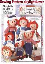 """Raggedy Ann Andy Doll & Clothes 3 Size 15"""" 26"""" 36""""  Sewing Pattern 8043 New #k"""