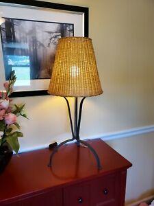 New Global Lighting Taller Uno 149201 Masai M Iron Wicker Shade Table Lamp