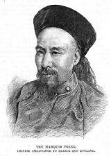 CHINA Marquis Tseng Ambassador to France & England - Antique Print 1884