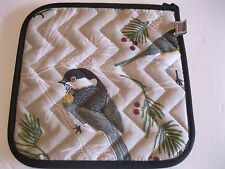 NOW DESIGNS Potholder Hot Pad Chickadee Bird Print Oven NWT 100% Cotton