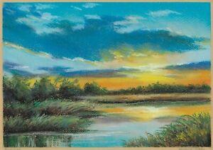 original drawing A4 103DmO art samovar Realism pastel landscape sunset Signed