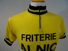 Vintage 70s  Acrylic  cycling jersey   Belgium  Yellow   Size S       072 P