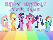 MY LITTLE PONY PERSONALISED EDIBLE ICING CUSTOM CAKE DECORATION TOPPER IMAGE