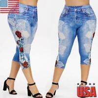 Plus Size Womens Cropped Leggings 3/4 Length Summer Capri Jeans Denim Hot Pants